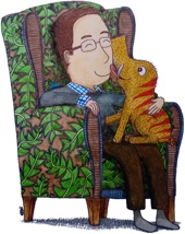 Illustration: Doug sits in an armchair with Rupert on his lap. Doug smiles as Rupert licks his face affectionately.